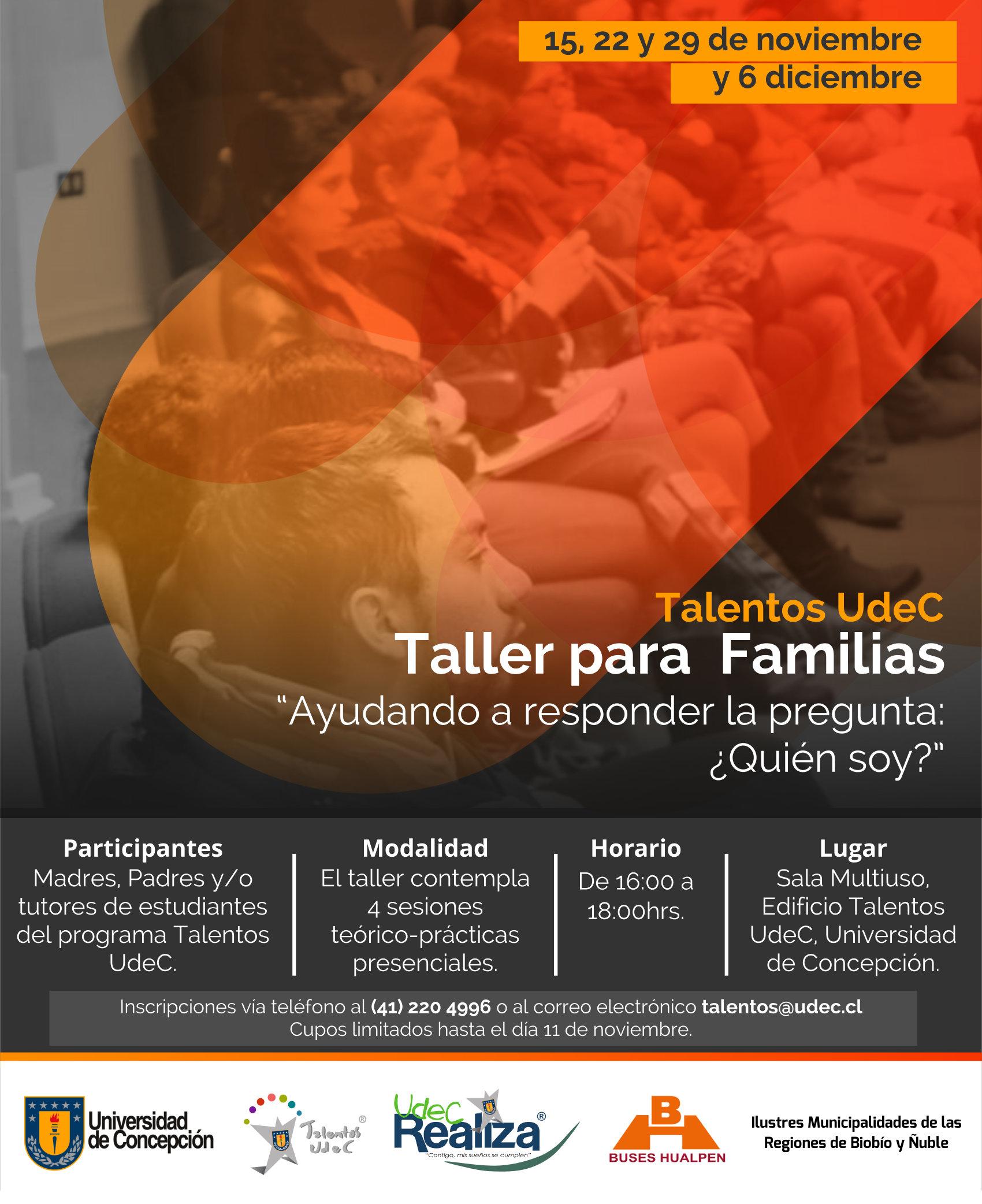 afiche taller de familias