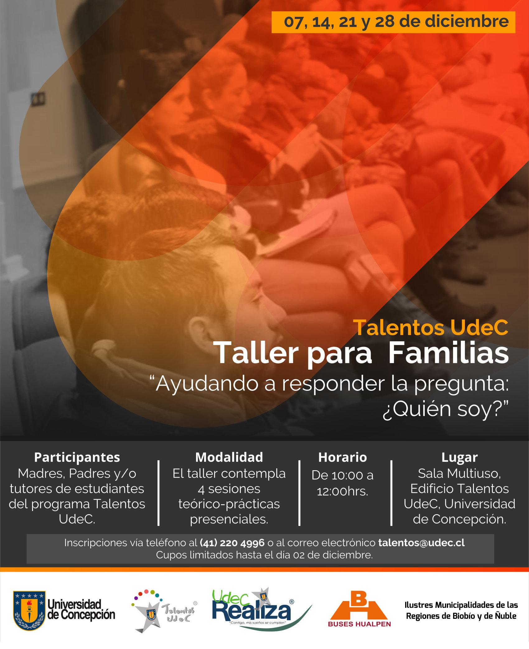 Nueva fecha para la realización del Taller de Familias de estudiantes de Talentos UdeC, versión 2019